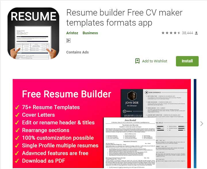 Best Resume Builder Apps For Android 2019 Zotpad