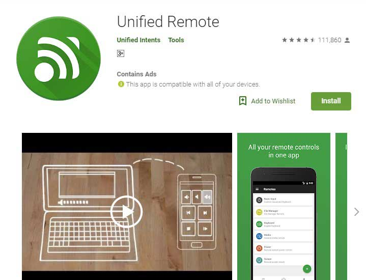 Unified Remote app